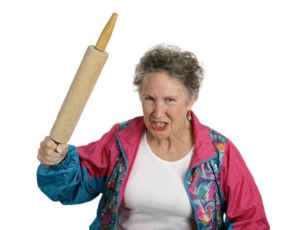 enior Lady with Rolling Pin